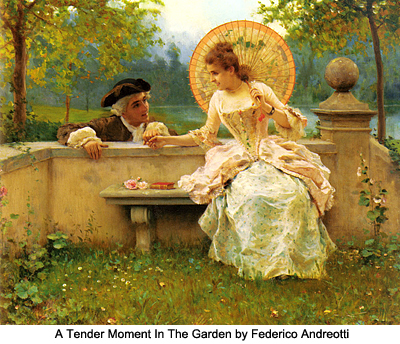 A tender moment in the garden by Frederico Andreotti