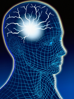 Head of human with blue grid and light in brain